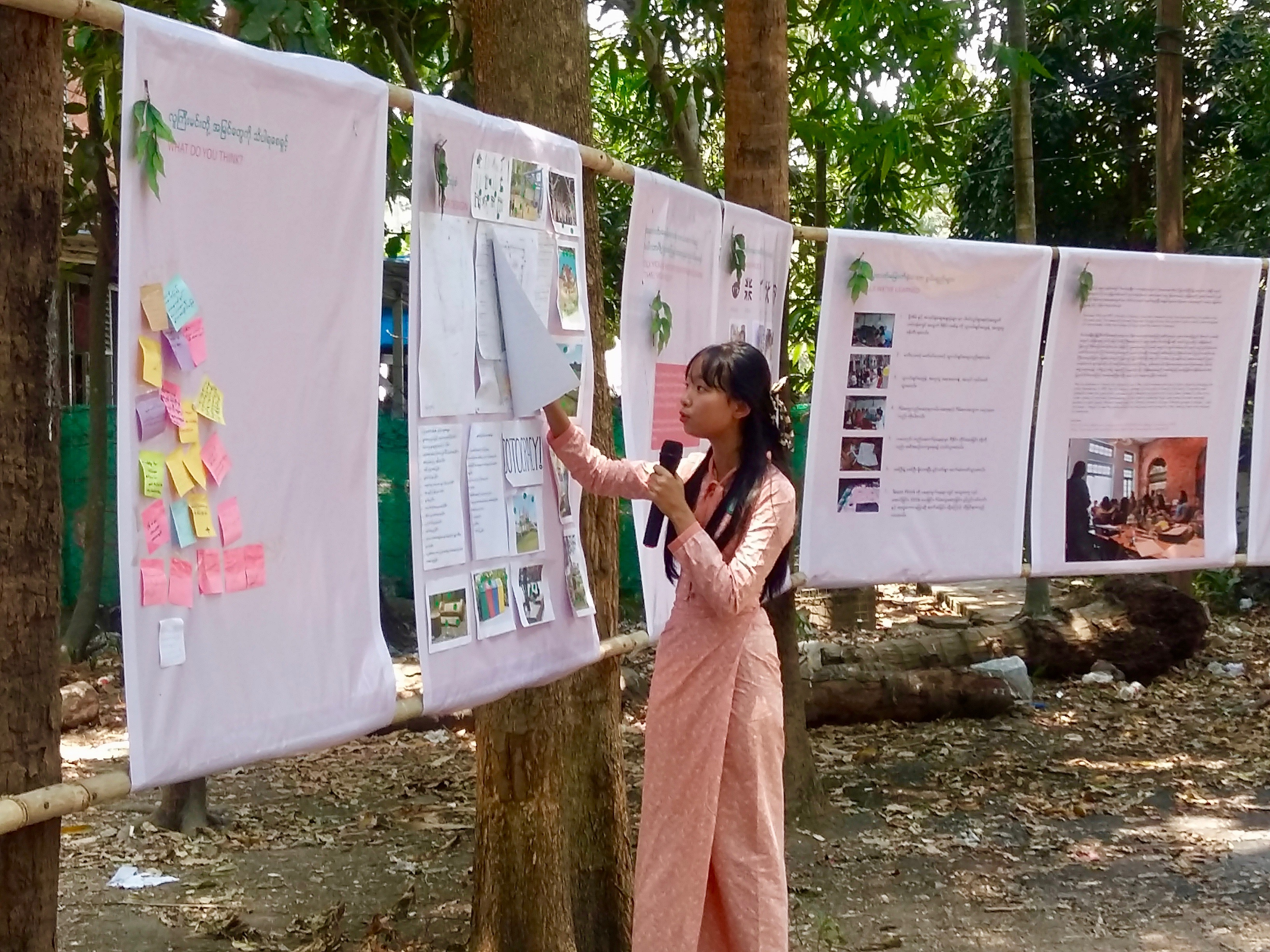 Hsu Linn Htet, 17, is one of 15 teenagers helping to design the park in Yankin township. (Ryan Phyoe)